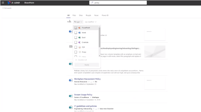 Using Microsoft Search Filtering