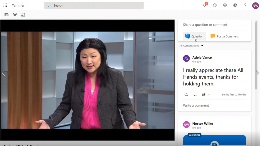 A yammer live event with real-time conversation