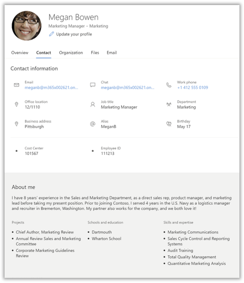 """Microsoft 365 Roadmap Update: Surfacing additional properties for People Cards like """"Cost Center"""""""