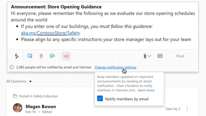 Microsoft 365 Roadmap Update: Priority announcements in Yammer can generate an email notification