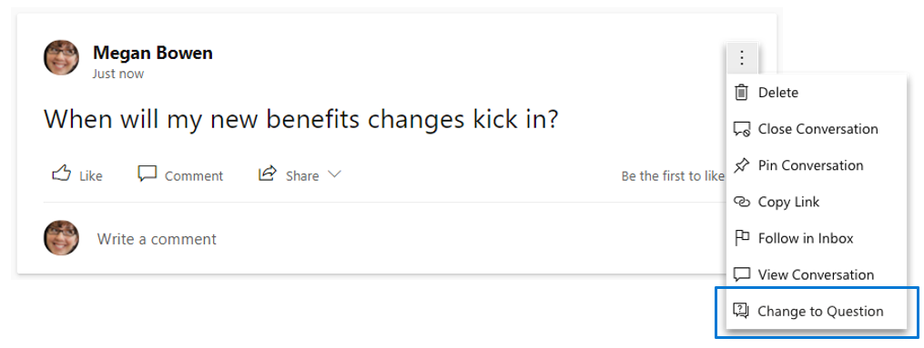 Microsoft 365 Roadmap Update: Change a post to a question in Yammer