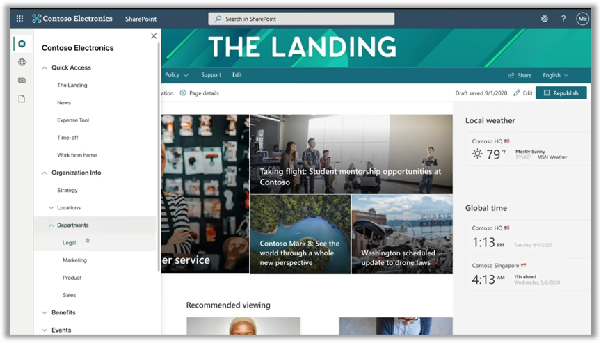 The new App Bar on display in SharePoint