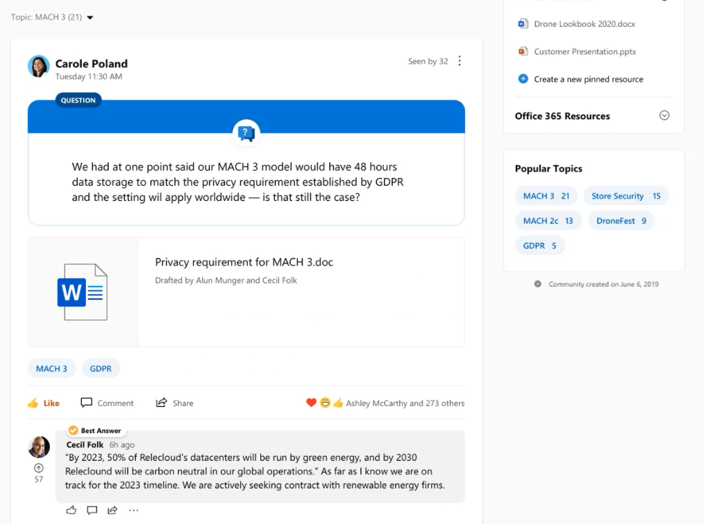Microsoft 365 Roadmap Update: The integration of Topics with Yammer