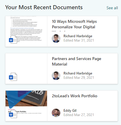 Benefits of Intranet Personalization - Most recent documents web part