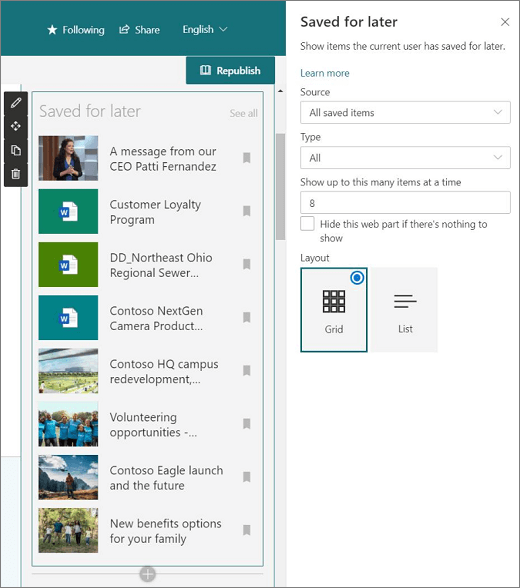 SharePoint Intranet Portal Benefits - The Save for later web part