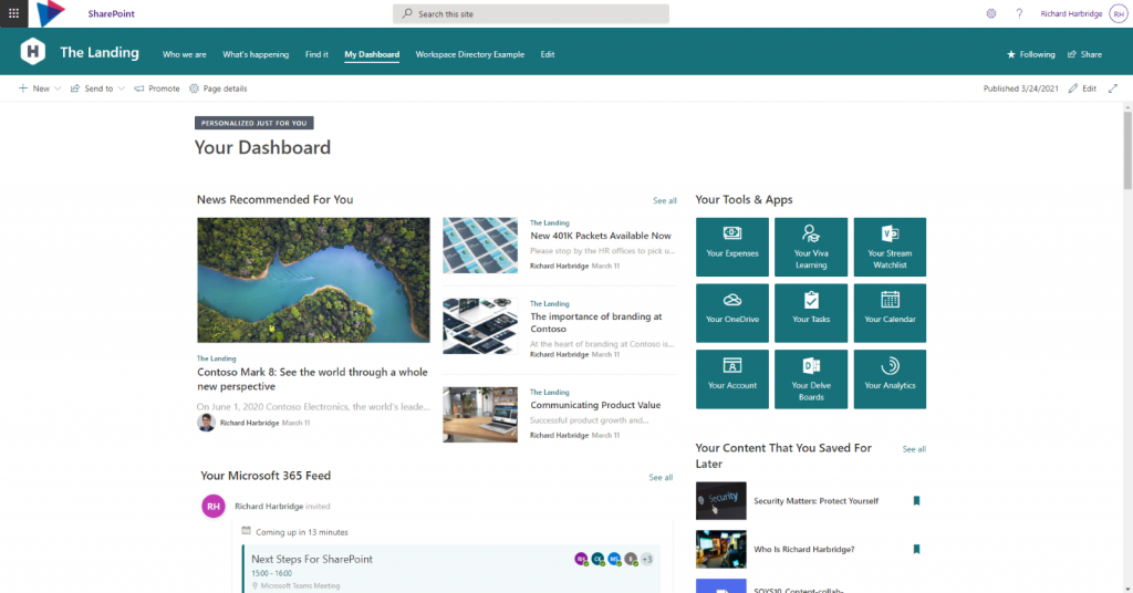 SharePoint intranet portal benefits - personalize your landing page