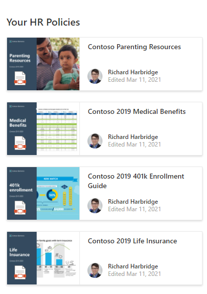 HR policies example with highlighted content web part - SharePoint