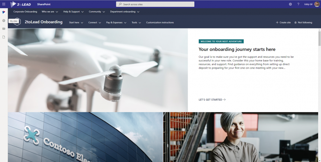 An example of virtual employee onboarding sites in SharePoint
